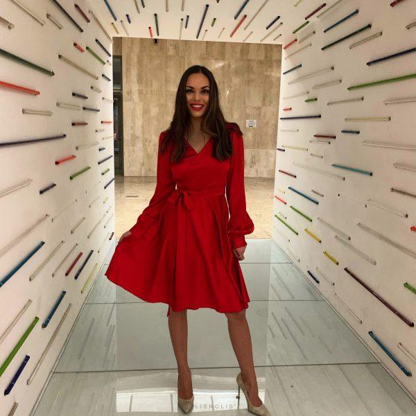 šaty zavinovacie červené modré šedé