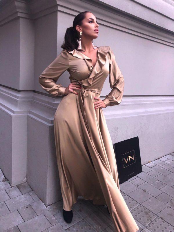 Dlhé zlaté šaty Planet