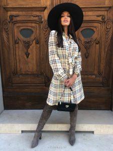Šaty Tartan beige dress