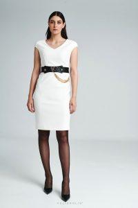Šaty biele s imitáciou kože