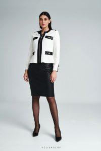 Biele sako s imitáciou čiernej kože
