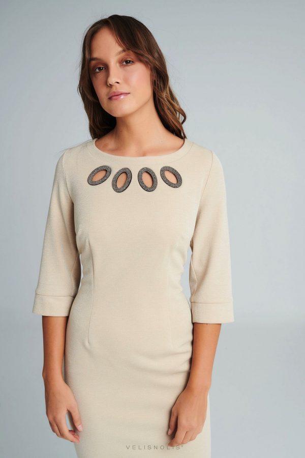 Krémové exkluzívne šaty s rukávom
