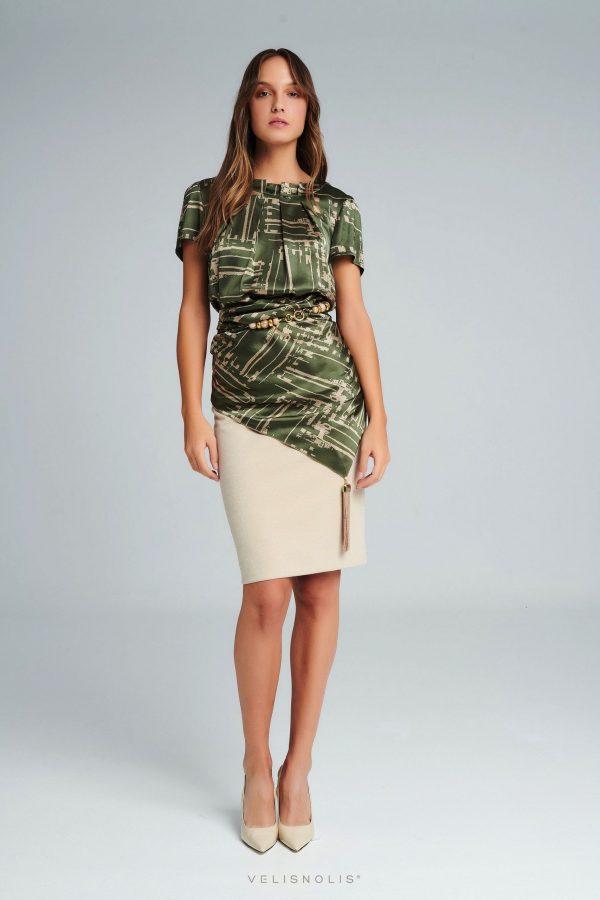 Krémová exkluzívna sukňa z lurexu