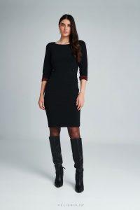 Čierne šaty ripové s rukávom