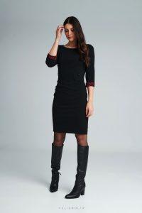 Čierne šaty ripové s rukávomČierne šaty ripové s rukávom