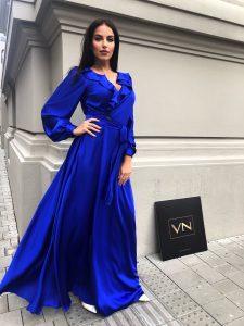 Dlhé modré šaty Planet