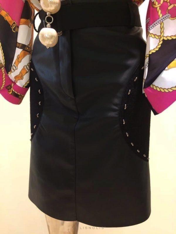 čierna sukňa imitácia kože