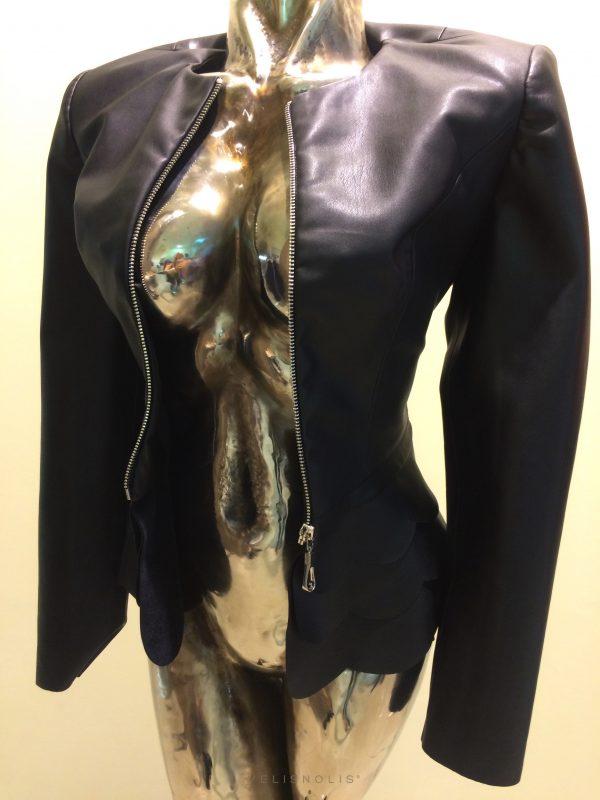 dámska čierna bunda imitácia kože