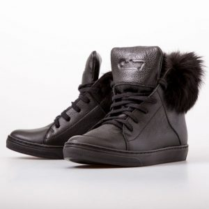 Black Lace Up Furry Boots