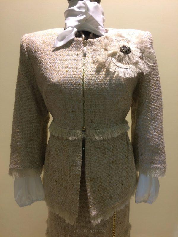 dámske krémové sako sukňa so zipsom