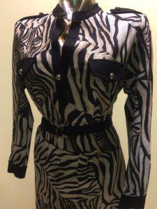 dámske šaty bavlnené podšité zebrovitý vzor