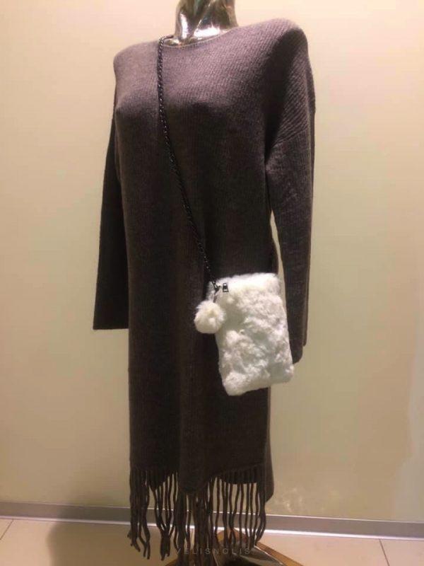 šaty hnedo-šedé strapcové