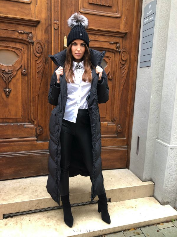 dámska maxi dlhá zimná páperová čierna bunda