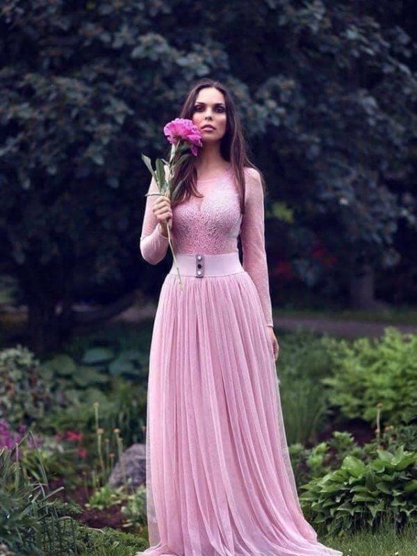 sukňa ružová tylová dlhá