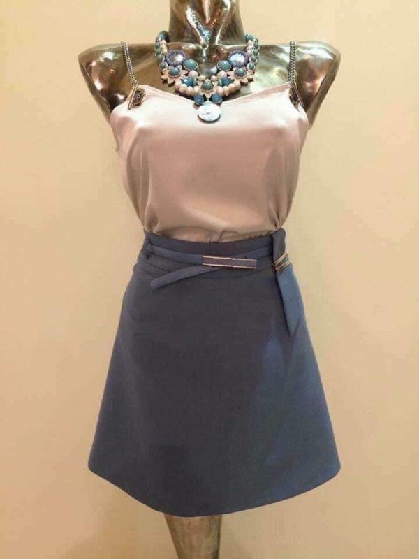 sukňa modrá s opaskom