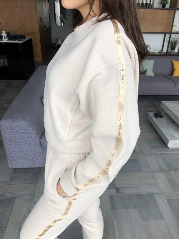 dámska béžová tepláková súprava basic stripe beige