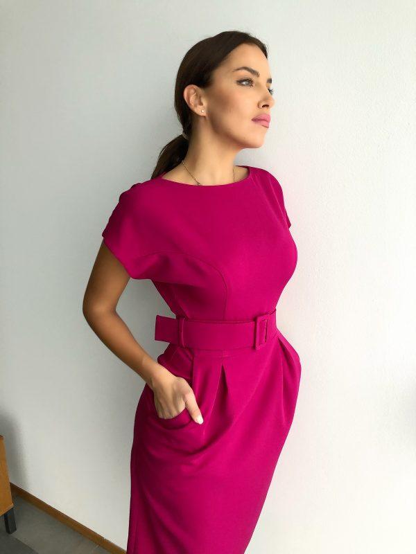 Šaty WOMAN fuksiové s opaskom